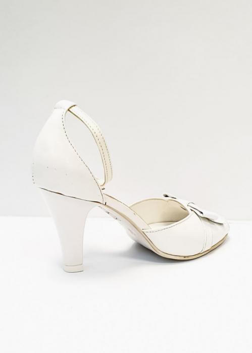 Pantofi Dama Piele Naturala Albi Erma D02689 0