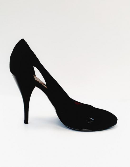 Pantofi cu toc Piele Naturala Negri Aisia D02691 0