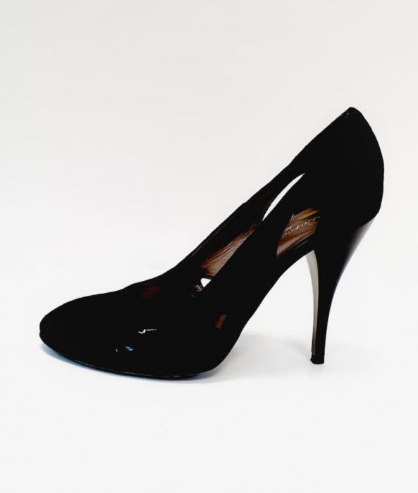 Pantofi cu toc Piele Naturala Negri Aisia D02691 1