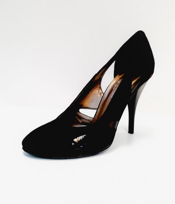 Pantofi cu toc Piele Naturala Negri Aisia D02691 2