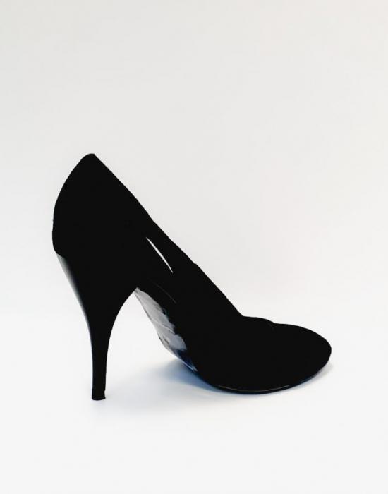 Pantofi cu toc Piele Naturala Negri Aisia D02691 3