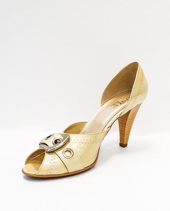 Pantofi Dama Piele Naturala Bej Tensia D02693 2