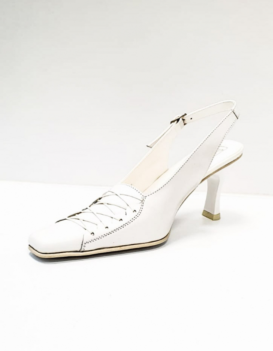 Pantofi Dama Piele Naturala Albi Xena D02695 2
