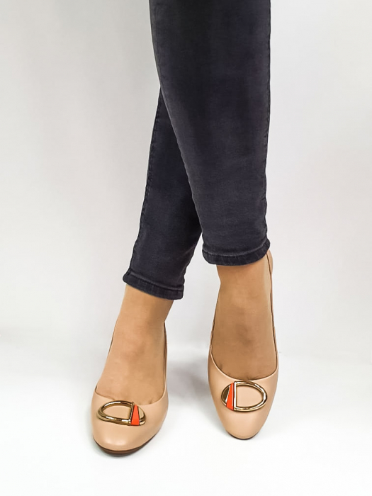 Pantofi Dama Piele Naturala Epica Bej Xia D02668 3
