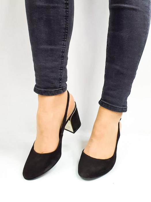 Pantofi Dama Piele Naturala Epica Negri Ena D02669 2