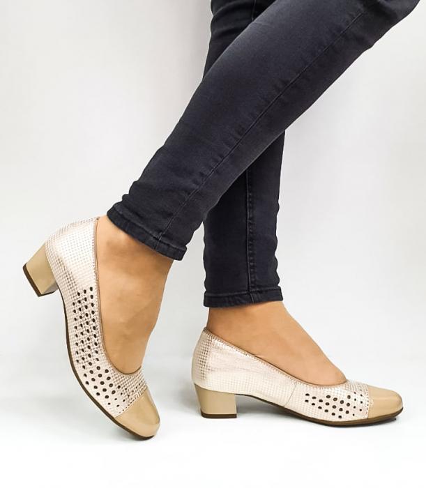 Pantofi cu toc Piele Naturala Bej Ara Enda D02670 0