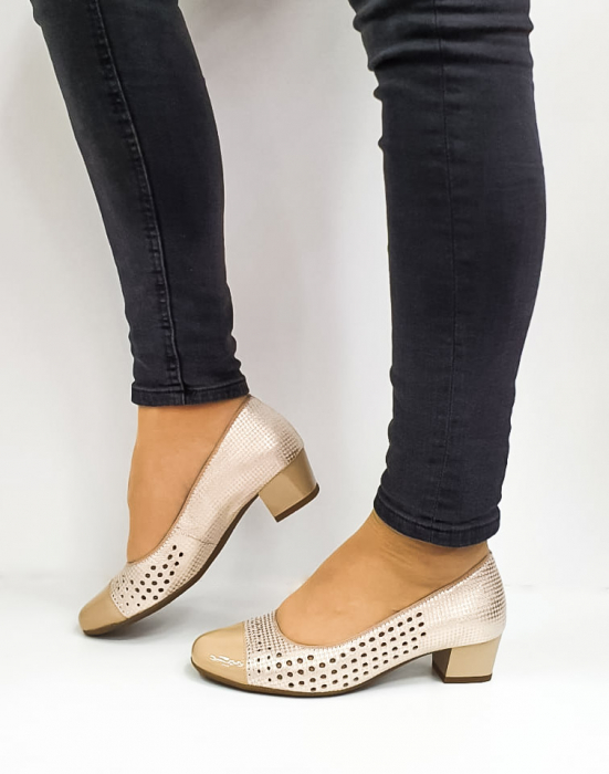 Pantofi cu toc Piele Naturala Bej Ara Enda D02670 1