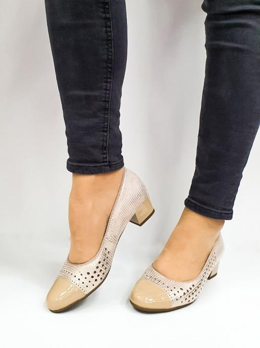 Pantofi cu toc Piele Naturala Bej Ara Enda D02670 2