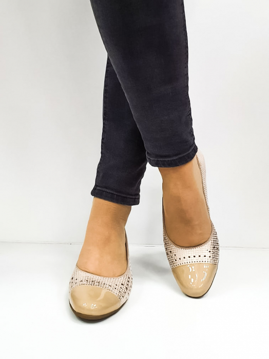 Pantofi cu toc Piele Naturala Bej Ara Enda D02670 3