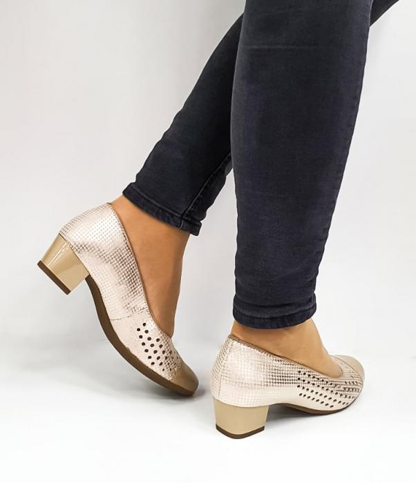 Pantofi cu toc Piele Naturala Bej Ara Enda D02670 4