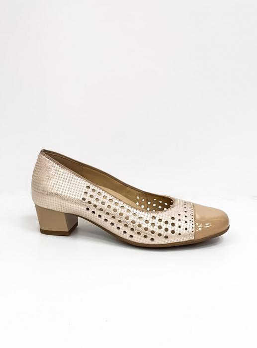 Pantofi cu toc Piele Naturala Bej Ara Enda D02670 5