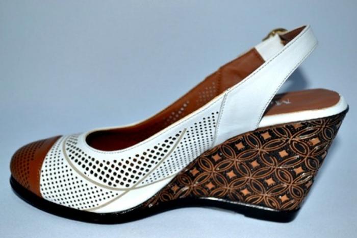 Sandale Dama Piele Naturala Albi Lola 1
