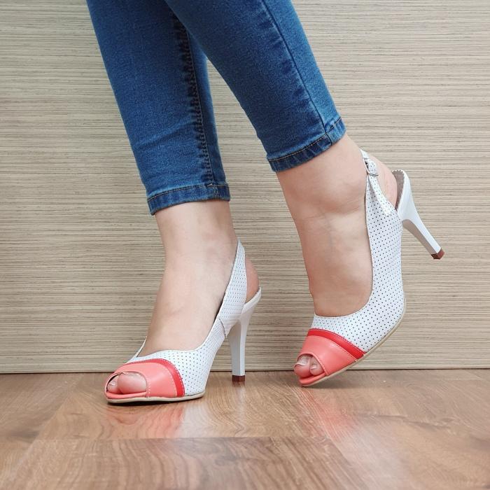Sandale Dama Piele Naturala Albe Devia D02428 2