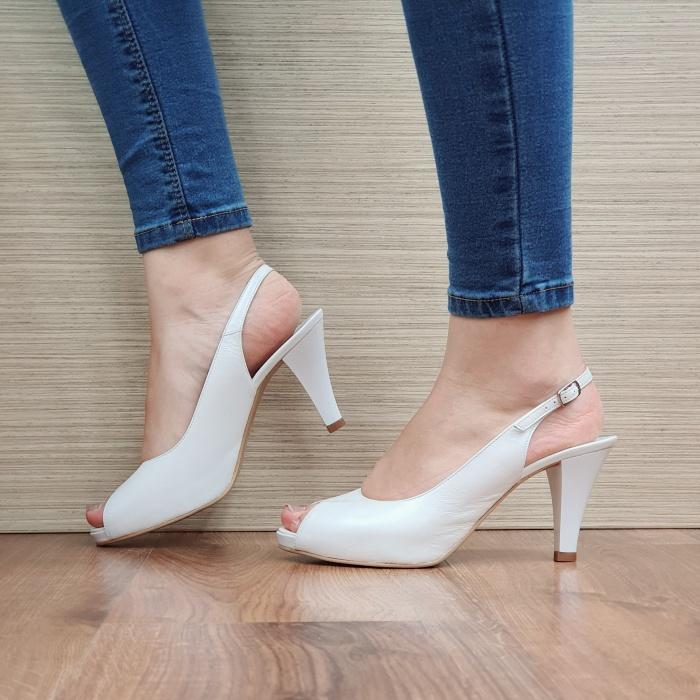 Sandale Dama Piele Naturala Albe Helene D02426 1