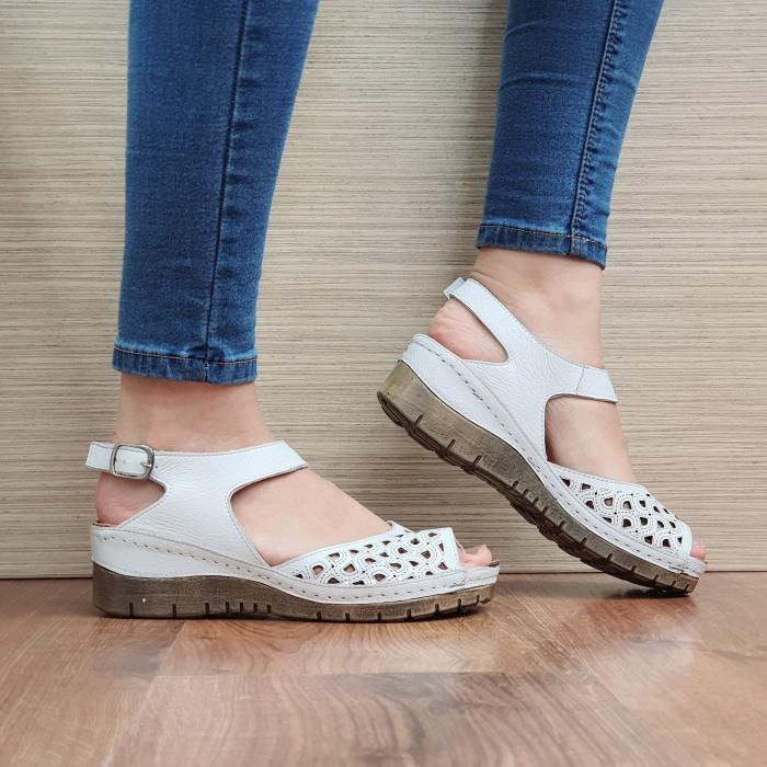 Sandale Dama Piele Naturala Albe Xenia D02440 0