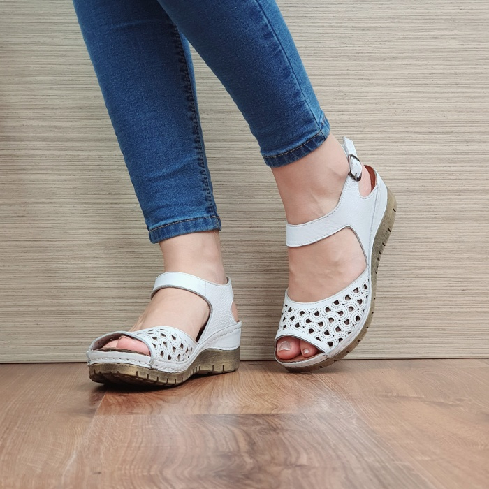Sandale Dama Piele Naturala Albe Xenia D02440 2