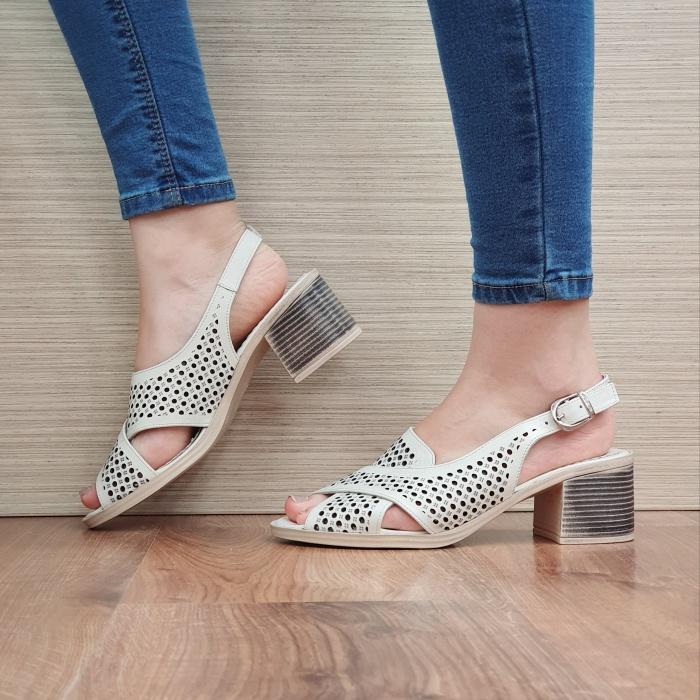 Sandale Dama Piele Naturala Bej Alexandra D02435 1