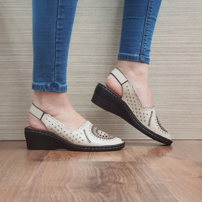 Sandale Dama Piele Naturala Bej Cristina D02460 0