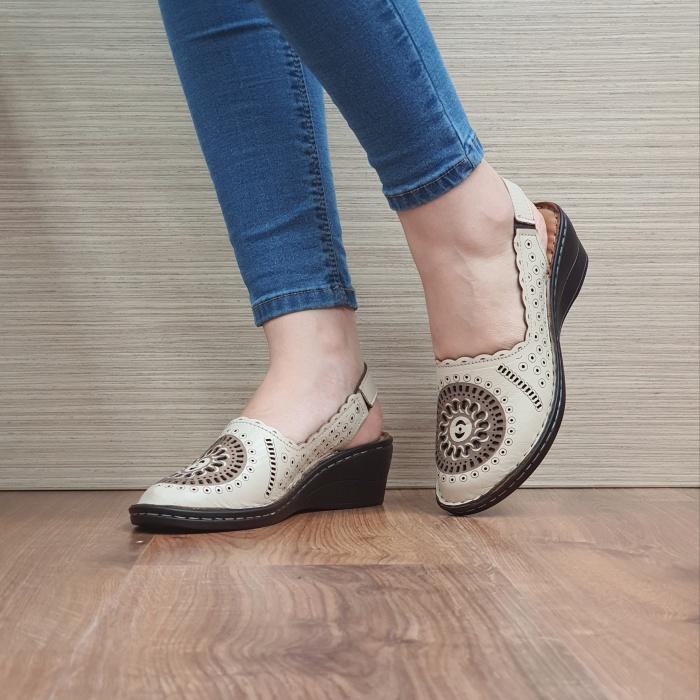 Sandale Dama Piele Naturala Bej Cristina D02460 2