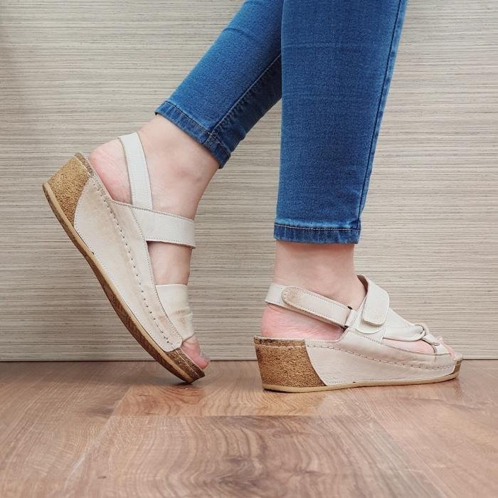 Sandale Dama Piele Naturala Bej Kiara D02441 3