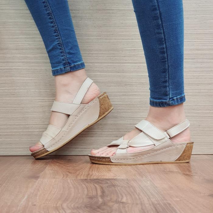 Sandale Dama Piele Naturala Bej Kiara D02441 1