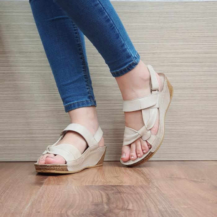 Sandale Dama Piele Naturala Bej Kiara D02441 2