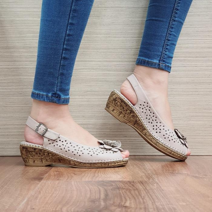 Sandale Dama Piele Naturala Bej Natasha D02442 0