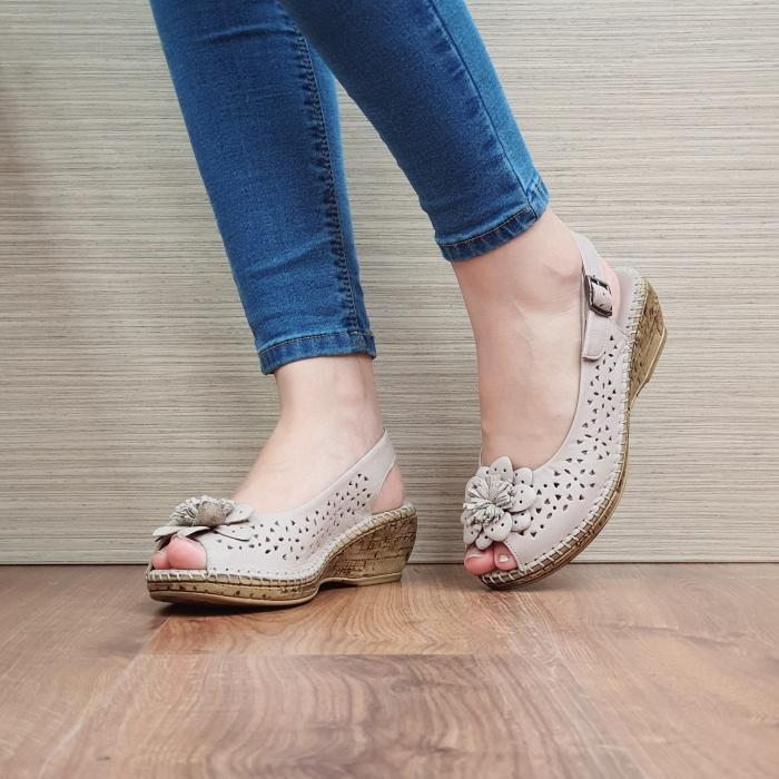 Sandale Dama Piele Naturala Bej Natasha D02442 2
