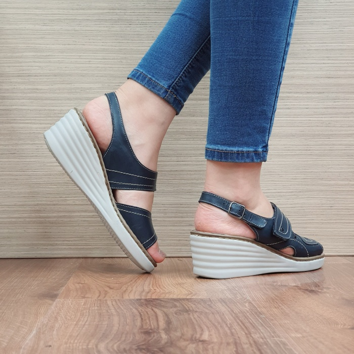Sandale Dama Piele Naturala Bleumarin July D02443 3