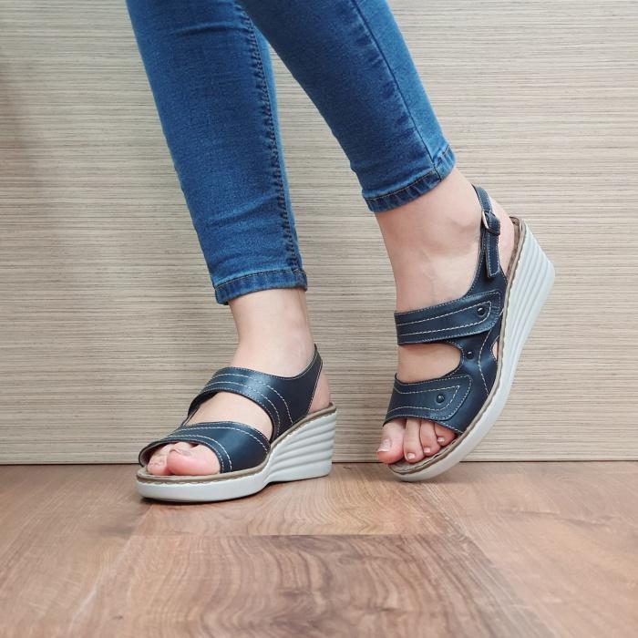 Sandale Dama Piele Naturala Bleumarin July D02443 2