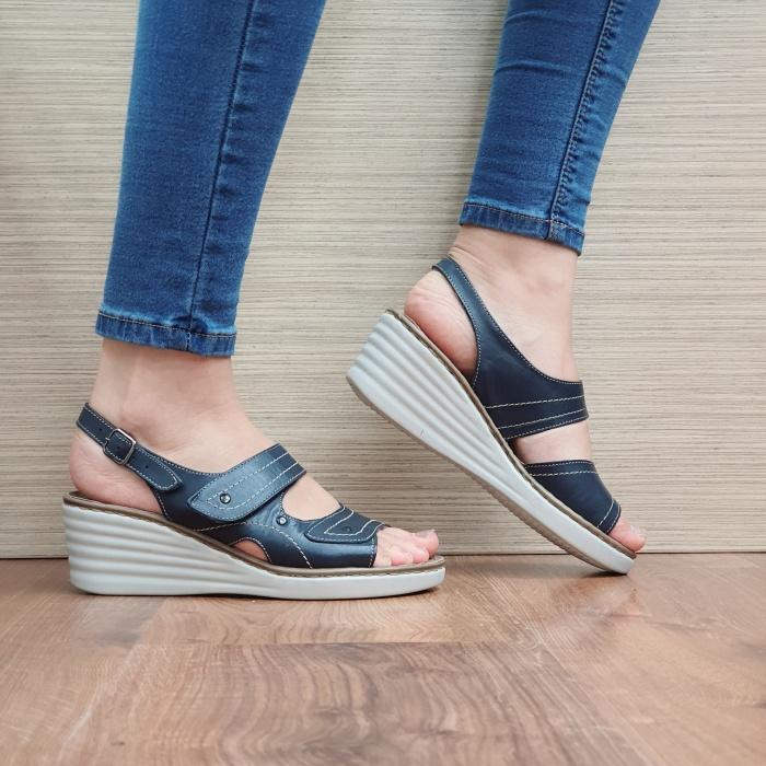 Sandale Dama Piele Naturala Bleumarin July D02443 0