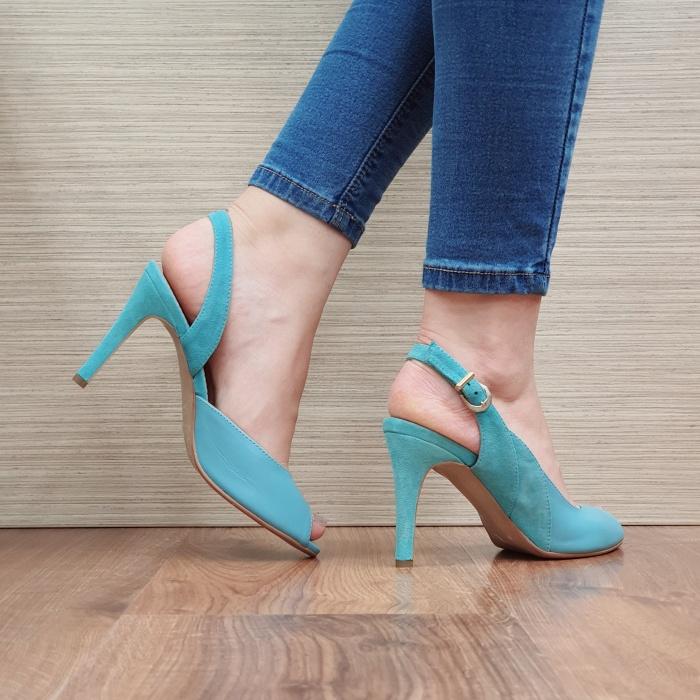 Sandale Dama Piele Naturala Guban Turquoise Katia D02417 [3]