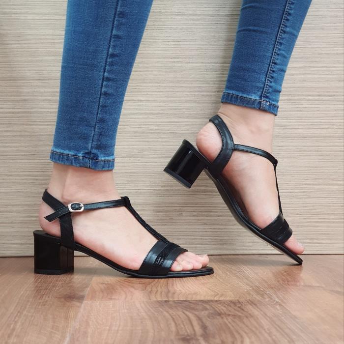Sandale Dama Piele Naturala Moda Prosper Negre Aura D02437 0