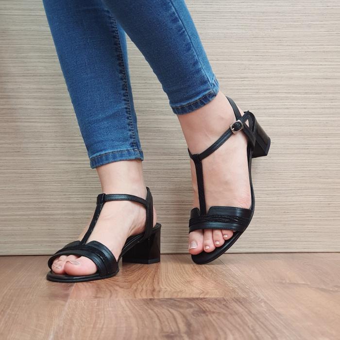 Sandale Dama Piele Naturala Moda Prosper Negre Aura D02437 2