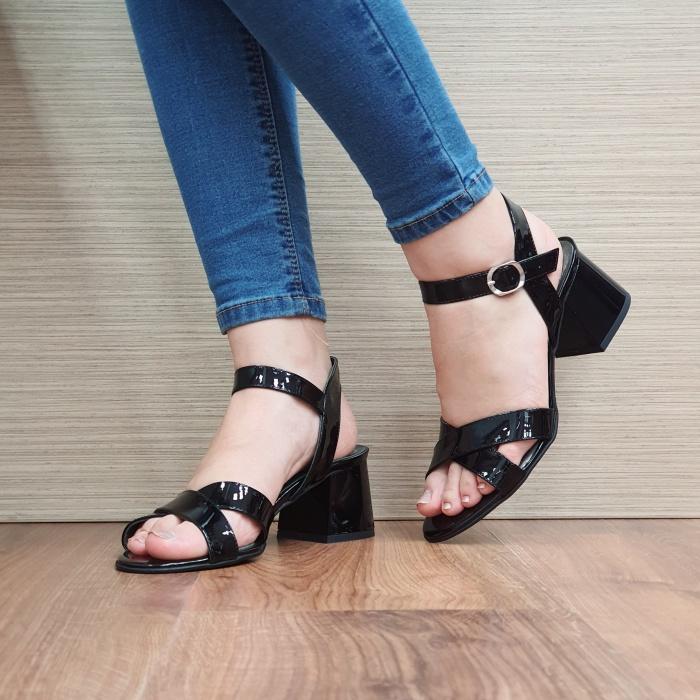 Sandale Dama Piele Naturala Moda Prosper Negre Celine D02404 2