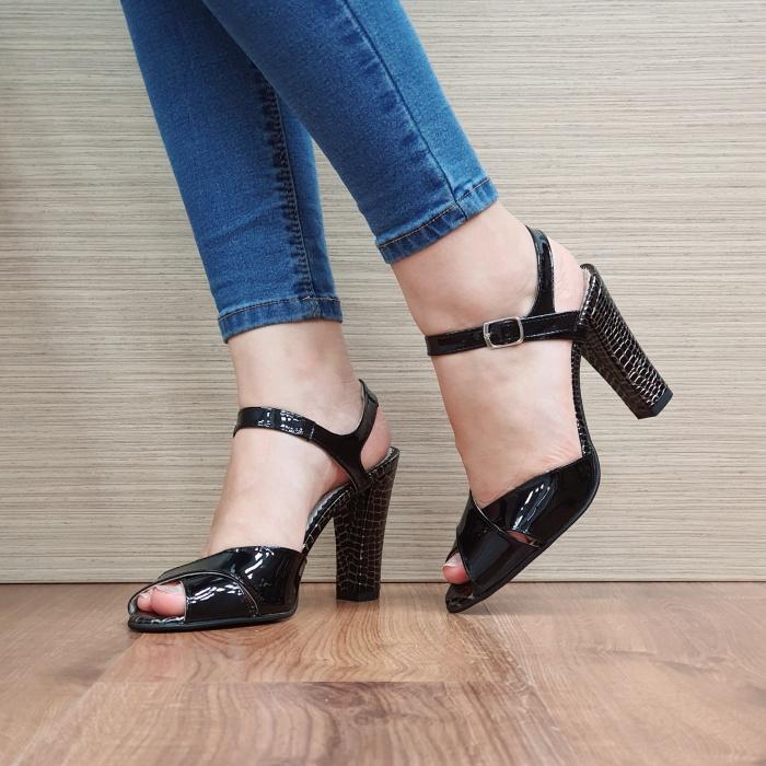 Sandale Dama Piele Naturala Negre Ozana D02425 2