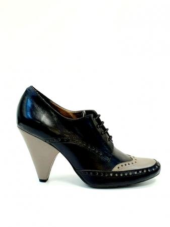 Pantofi cu toc Piele Naturala Negri Amy D027080