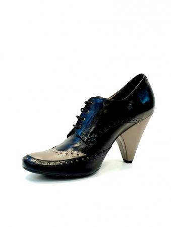 Pantofi cu toc Piele Naturala Negri Amy D027081
