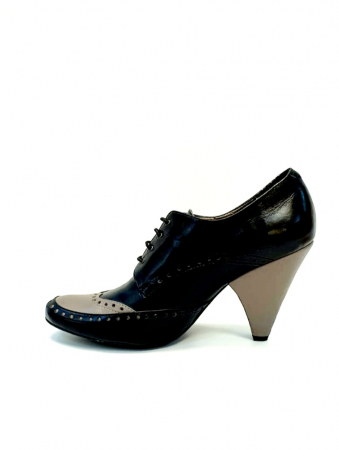 Pantofi cu toc Piele Naturala Negri Amy D027082