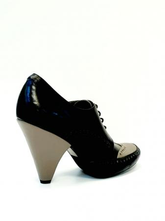 Pantofi cu toc Piele Naturala Negri Amy D027083