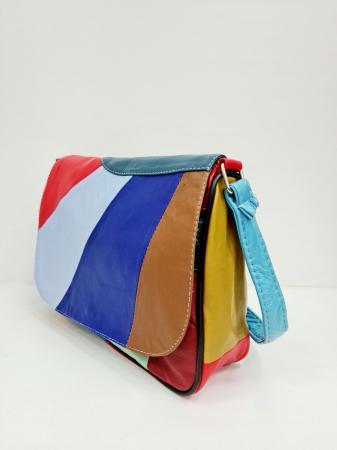 Geanta Dama Piele Naturala Multicolora Ada G007016
