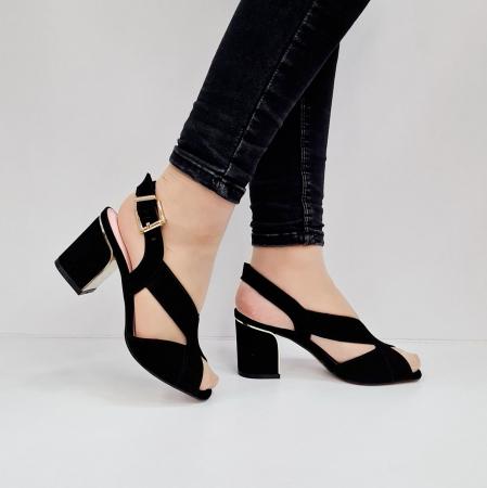 Sandale Dama Piele Naturala Negre Epica Tamara D026730