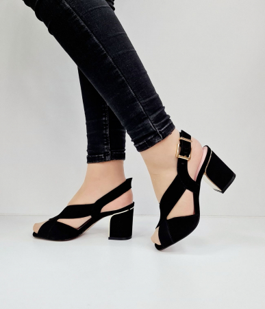 Sandale Dama Piele Naturala Negre Epica Tamara D026731