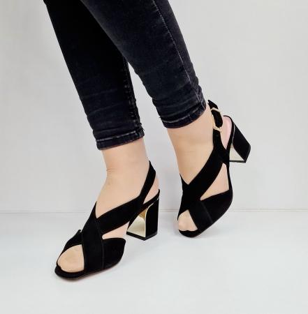 Sandale Dama Piele Naturala Negre Epica Tamara D026732