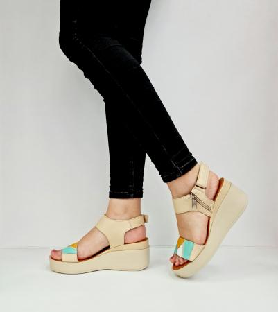 Sandale Dama Piele Naturala Bej Prego Barbara D02760 [1]