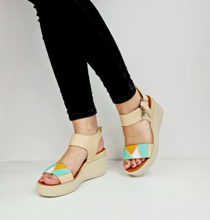Sandale Dama Piele Naturala Bej Prego Barbara D02760 [4]