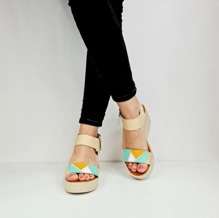 Sandale Dama Piele Naturala Bej Prego Barbara D02760 [5]