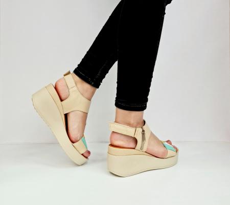 Sandale Dama Piele Naturala Bej Prego Barbara D02760 [6]