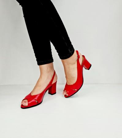 Sandale Dama Piele Naturala Rosu Carole D02761 [2]