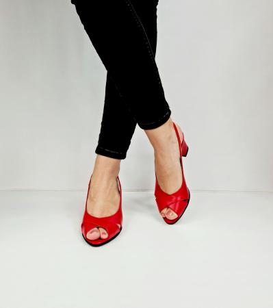 Sandale Dama Piele Naturala Rosu Carole D02761 [3]